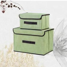 Bộ 2 hộp đựng đồ lưu trữ bằng vải khung cứng thùng đựng quần áo đồ chơi đa năng có nắp đậy