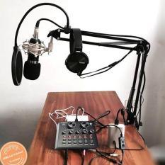 Combo bộ Mic Thu Âm Livestream, Hát Karaoke,Livestream online cực hay(Trọn Bộ Souncard V8,Bm900) tặng kèm tai nghe cực ngầu