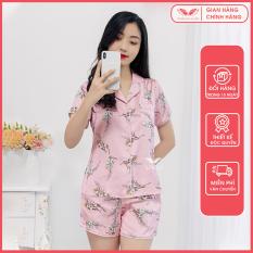 Bộ pijama cộc mặc ngủ, mặc nhà họa tiết cành hoa nhỏ chất lụa Pháp mềm mại, độ bóng tự nhiên Thiết kế Vingo H421 VNGO-TCQC