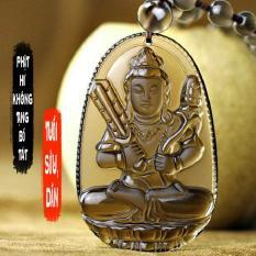 Chuỗi hạt đeo cổ mặt phật bản mệnh người tuổi Sửu, tuổi Dần – Phật Hư Không Tạng Bồ Tát S668 ( đá vàng )