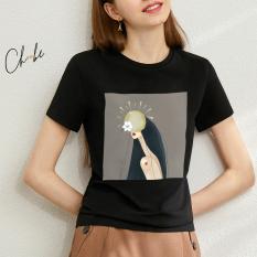 Áo thun nữ Choobe cộc tay thoáng mát, bộ sưu tập Nhật Hoa Nữ phong cách cá tính, màu đen- A05