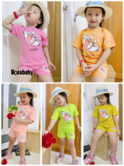 [HCM]COMBO 5 đồ bộ tay ngắn hình THỎ CLEVER cho bé gái siêu cute ngộ nghỉnh cho bé 6-24kg.