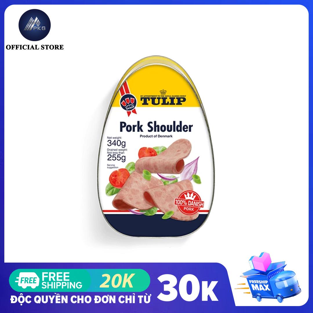 Thịt hộp Tulip Pork Shoulder 340g, thương hiệu Đan Mạch, hsd 5 năm