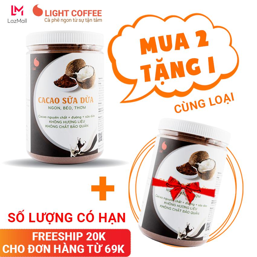 [MUA 2 TẶNG 1] Bột cacao sữa Dừa đậm đà thơm ngon, đặc biệt không pha trộn hương liệu, Light Cacao, pha chế tiện lợi, dạng hũ dễ bảo quản 550g