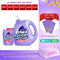 [FREESHIP 30K + TẶNG BAO LÌ XÌ] Combo Nước giặt xả Maxkleen hương hoa nắng: 1 Chai 2.4kg + 1 Túi 600g