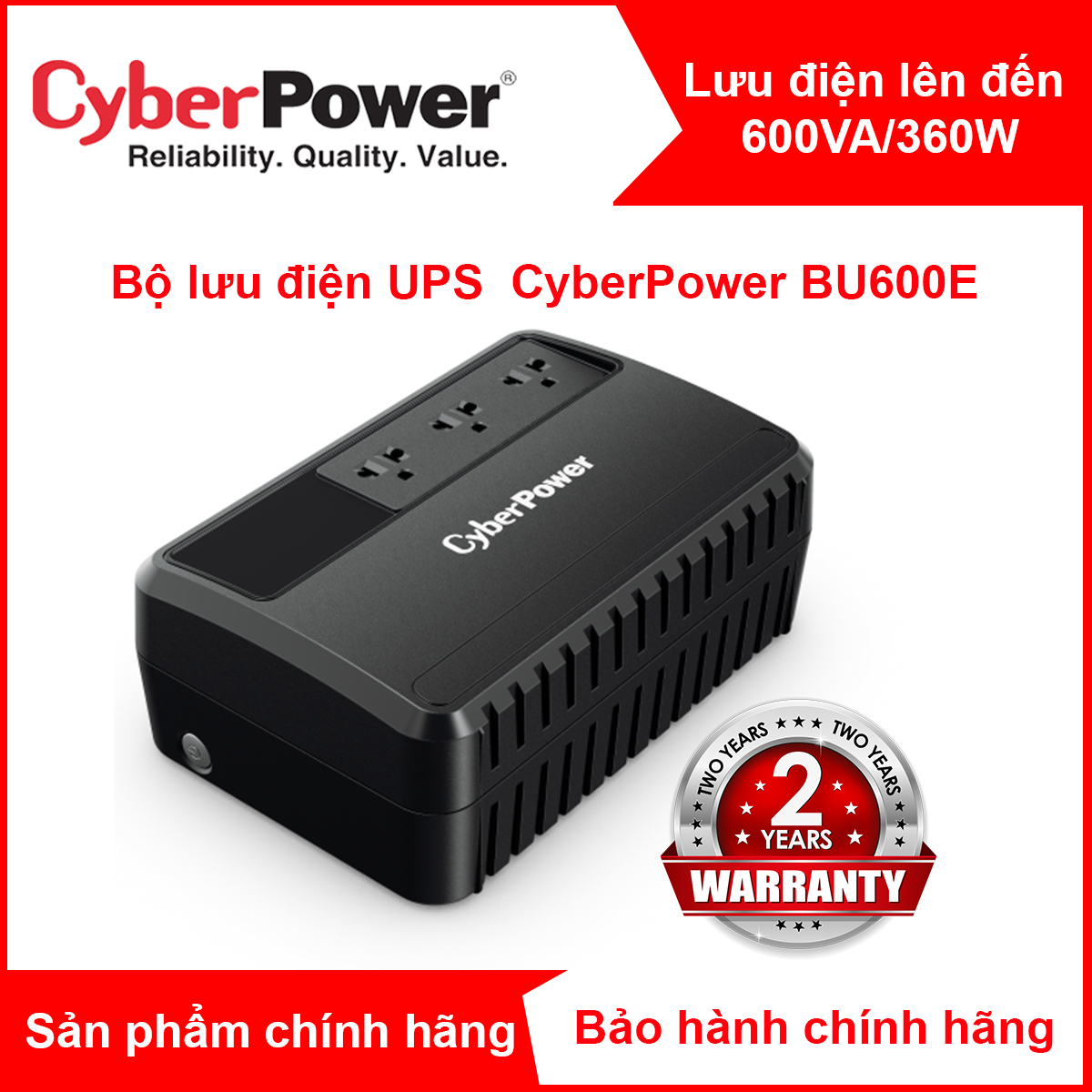 Bộ Lưu Điện UPS Cyber Power BU600E 600VA 360W chính hãng – BH 24 tháng