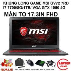 MSI GV72 7RD (Core i7-7700HQ/VGA GTX 1050 4G/Ram 8G, HDD 1TB, Dos 17.3 inch FHD IPS ,Phím Led Đỏ