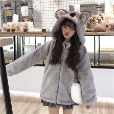 Áo khoác nữ lông mũ gấu thời trang cho nữ có kèm ảnh thật mẫu áo khoác cực cute 2021