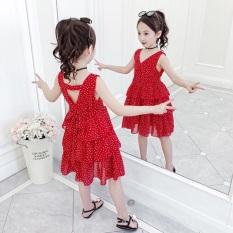 [ Siêu Rẻ ] Váy Lụa Chấm Bi Cho Bé Gái