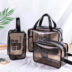 Sét 3 túi Givenchy Travel bằng nhựa trong suốt đủ cỡ đa năng, tiện dụng, Set 3 tui/ vi Givenchy Travel bang nhua trong suot du co da nang, tien dung