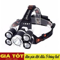 Đèn pin đội đầu 5 bóng, đèn pin siêu sáng, đèn pin đội đầu, sạc điện, 5 bóng nhiều chế độ, thu ánh sáng gần xa, bao gồm 2 pin sạc và cục sạc – Hỗ trợ đổi trả 7 ngày