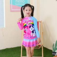 Bộ bơi bé gái váy rời tay dài hình ngựa Pony chống nắng, cho bé từ 13-35 kg