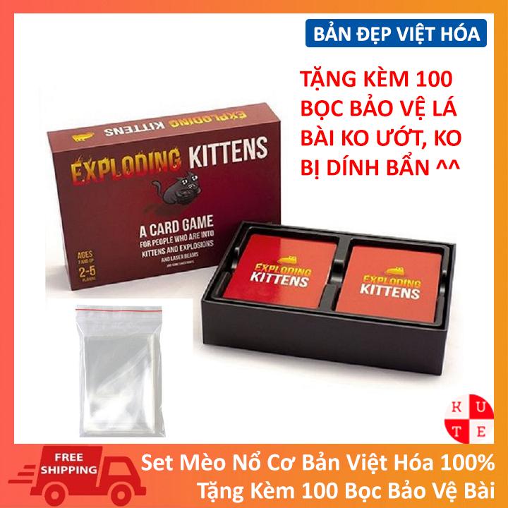 Combo Mèo Nổ Exploding Kittens Việt Hóa Tặng Kèm 100 Bọc Bảo Vệ Lá Bài