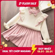 Bộ Váy Bear Leader dệt kim dài tay giữ ấm kết hợp chân váy xếp li xòe duyên dáng cho bé 2-6 tuổi – intl