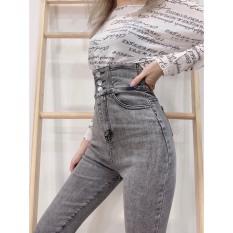 quần jean nữ lưng siêu cao 3 CÚC MÀU XÁM NHẠT -3C-11