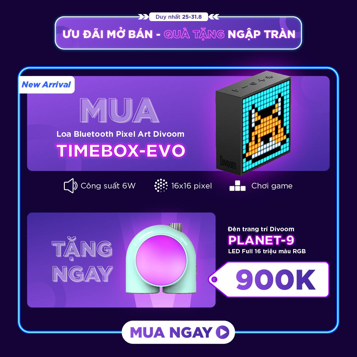 [ƯU ĐÃI MỞ BÁN] Loa bluetooth thông minh Divoom Timebox-Evo, màn hình LED 256 Full RGB, đồng hồ báo thức, ghi âm