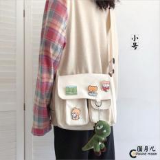 Túi đeo chéo nam nữ vải canvas đựng được khổ giấy a4 phong cách Hàn Quốc tặng kèm huy hiệu-DUHA SPORT