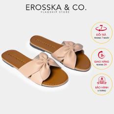 Dép đi biển thời trang Erosska 2021 quai ngang đính nơ đế bệt kiểu dáng đơn giản DE027 (NU)