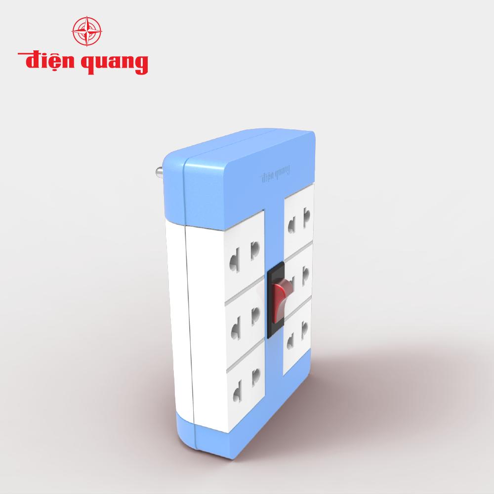 Ổ Cắm Xoay 90° Điện Quang ĐQ ESK RT 6BW (6 Lỗ, màu xanh trắng)