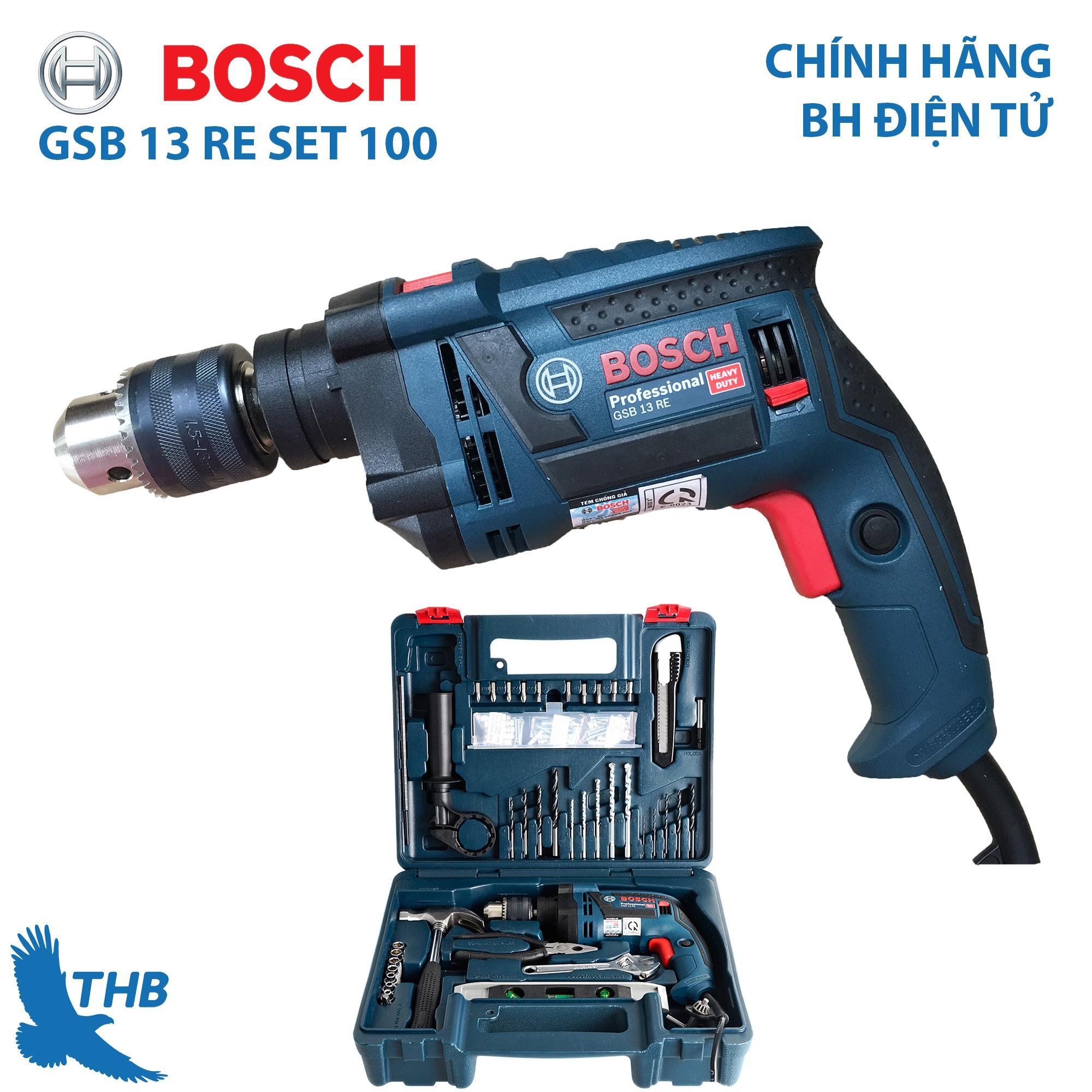 Bộ máy khoan gia đinh Bosch Bộ máy khoan đa năng Bosch chính hãng GSB 13 RE SET 100 món...