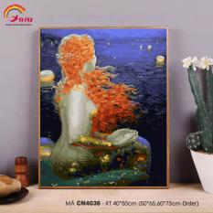 Tranh tự tô màu theo số sơn dầu số hóa Gam Nàng tiên cá CN4036