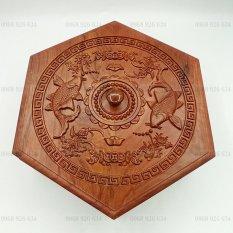 Khay đựng mứt bánh kẹo chạm khắc Song Ngư- Hộp đựng bánh kẹo ngày tết bằng gỗ hương