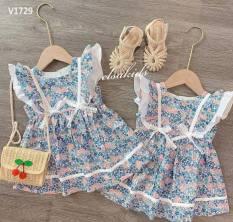 VÁY BÉ GÁI 💥 Váy cánh tiên hai nơ hoa xanh cực xinh cho bé 1-7 Tuổi