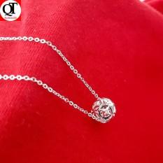 Bộ dây chuyền kèm mặt quả cầu kim tiền phay chất liệu bạc thật không xi mạ -QTBTS1