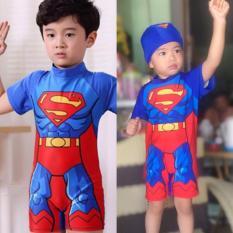 Đồ bơi bé trai liền thân siêu nhân Superman xuất xịn kèm nón