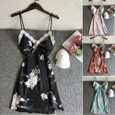 Đồ Ngủ Mặc Nhà Bộ Đầm Ngủ Hisexy In Hoa Lụa Hàn Có Mút Ngực MD35
