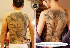 Hình xăm dán tattoo cao cấp kín lưng 34x48cm CÁ CHÉP BÊN HOA SEN (Quà tặng kèm: 1 hình xăm dán đẹp mê ly!)