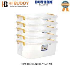 Combo 5 Thùng Nhựa Duy Tân Trong Suốt 10 Lít (43 x 28 x 15 cm) No.H115