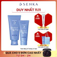 Bộ sản phẩm sữa rửa mặt tơ tằm trắng Senka Perfect Whip 120g và Senka Perfect Whip 50g