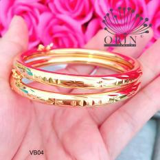 Bộ 2 chiếc vòng đeo tay nữ dạng bọng có khóa màu 24 khắc khía VB04 thiết kế cao cấp Orin V2170