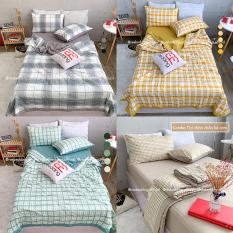 Bộ chăn ga gối Chần Bông Cotton TC REE Bedding caro nhiều màu đủ size giường nệm