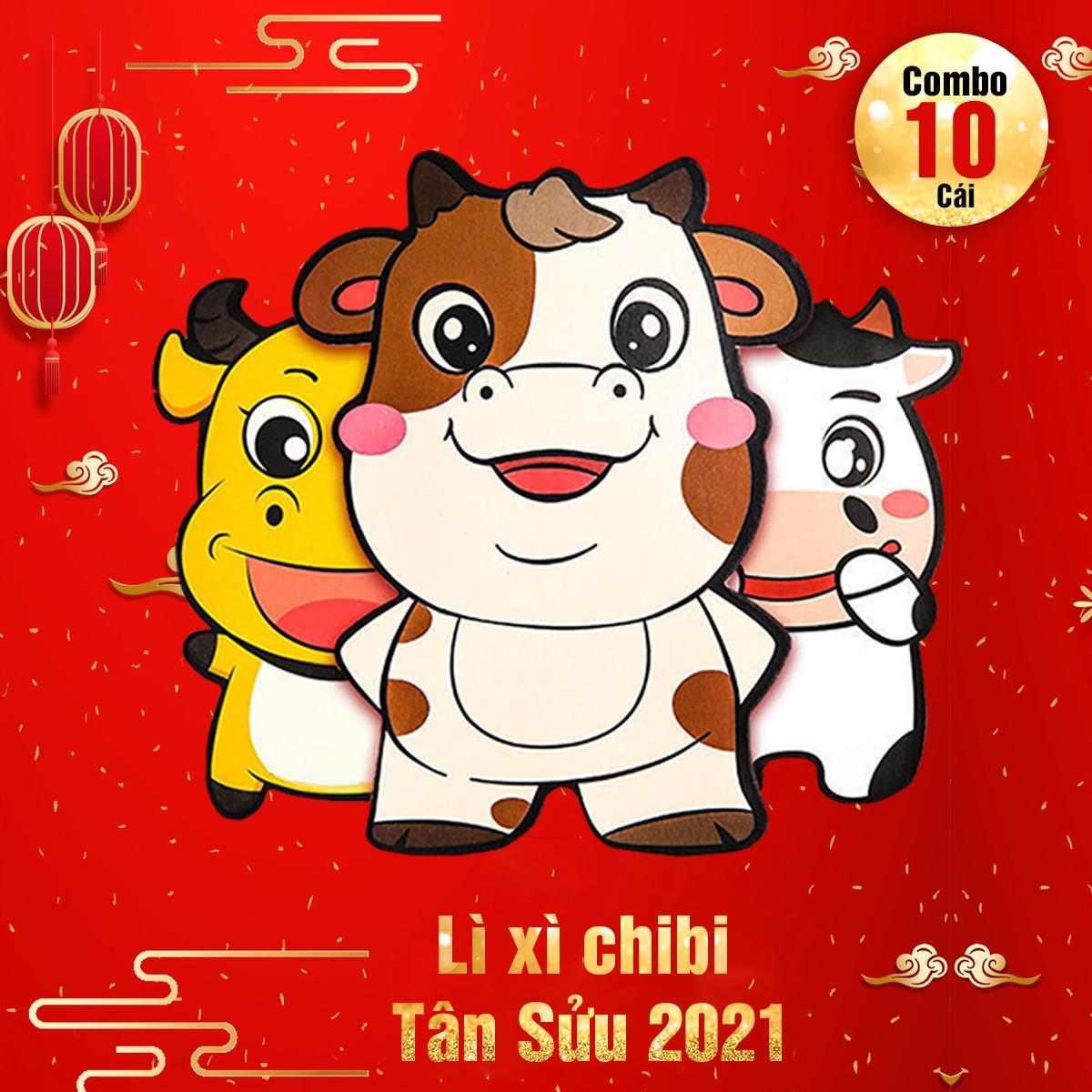 [Combo 10 cái 10 mẫu khác nhau] Bao lì xì chibi hoạt hình đáng yêu cho bé mẫu Trâu mới nhất 2021, nhiều mẫu hoạt hình dễ thương
