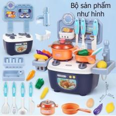 Bộ đồ chơi nấu ăn nhà bếp KAVY nhiều chi tiết đẹp nhựa ABS an toàn- màu xanh