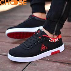 (Hàng Mới Về)Giày Lười Nam Màu Đỏ Đen/Giày Mọi Sneaker Họa Tiết Tam Giác Phá Cách 0601