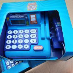 Máy tính tiền siêu thị đồ chơi Coles màu xanh dương cho bé.