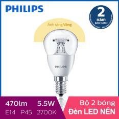 Bộ 2 Bóng đèn Philips LED Nến 5.5W 2700K E14 230V P45 (Ánh sáng vàng)