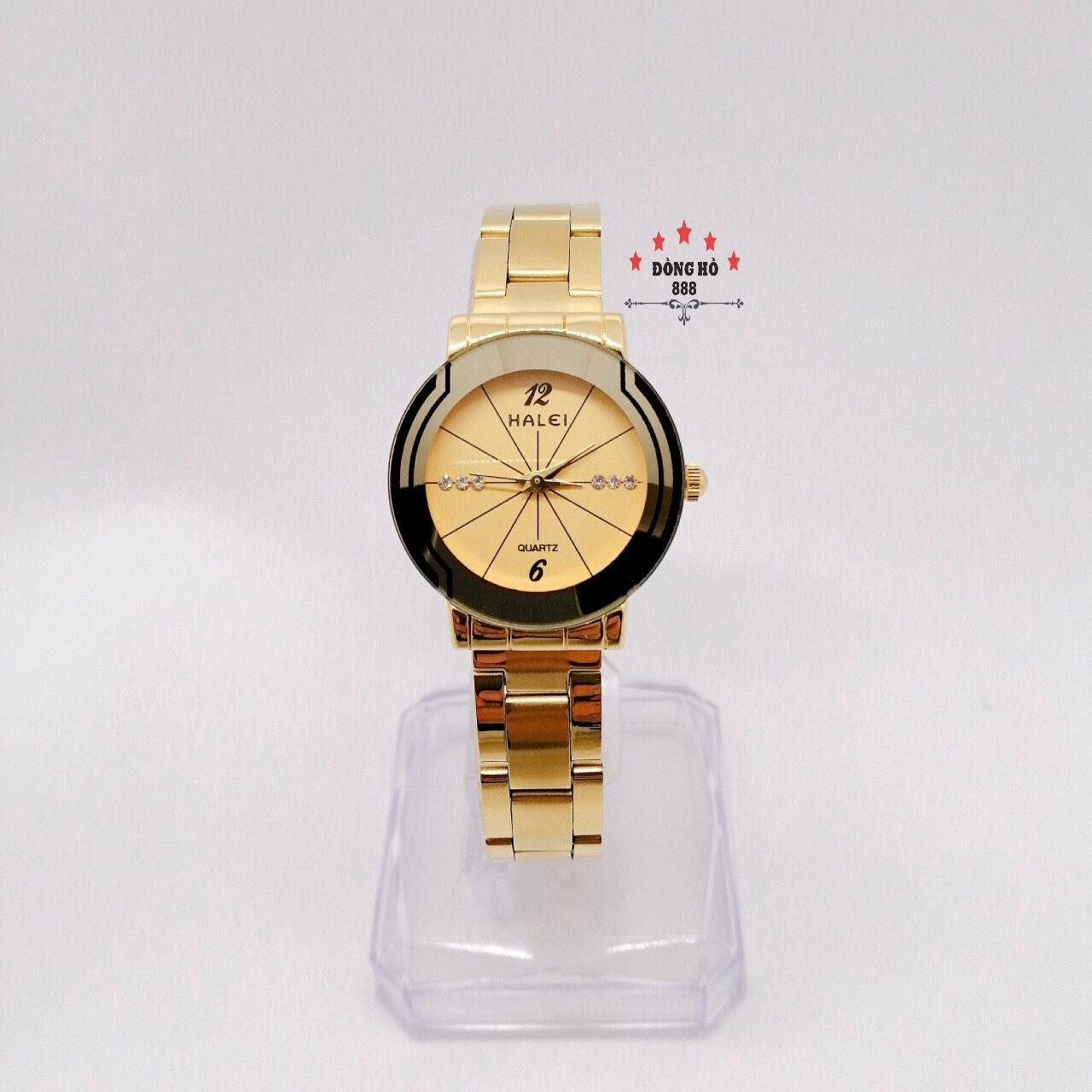 Đồng hồ nữ HALEI dây kim loại thời thượng ( HL457 dây vàng mặt vàng ) - TẶNG 1 vòng...