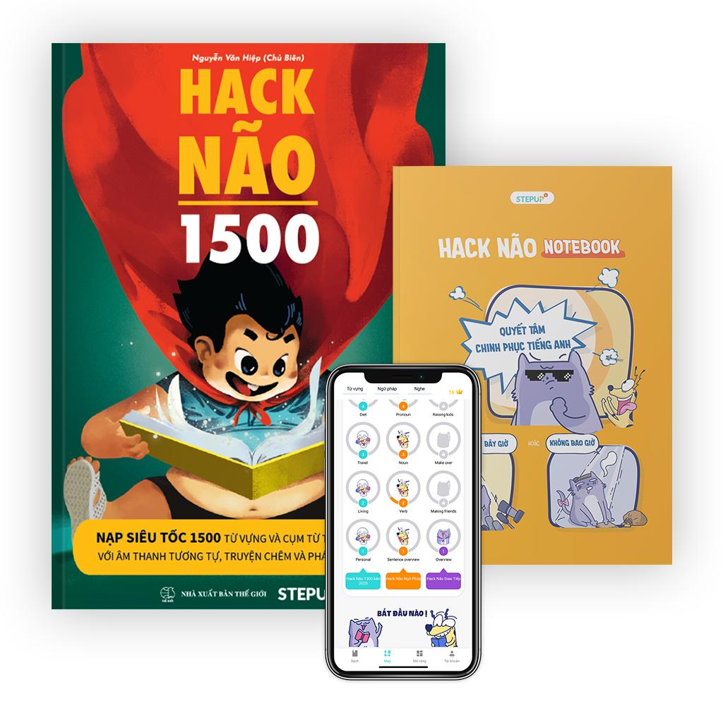 Sách Hack Não 1500 và Sổ tay Hack Não Notebook – Sách học từ vựng tiếng Anh theo chủ đề bằng truyện chêm và âm thanh tương tự, tặng miễn phí App Hack Não Pro dạy phát âm chuẩn bản xứ (Step Up English)