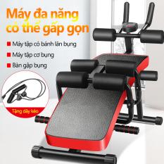 Ghế gập bụng tập gym đa năng hiệu Baichuang, dụng cụ tập chống đẩy, lên bụng, có kèm dây kéo lực co dãn, máy tập thể thao tại nhà đa năng có thể gấp gọn camry