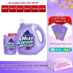 [FREESHIP 30K] Combo Nước giặt xả Maxkleen Hương Nước Hoa Huyền Diệu: 1 Chai 2.4kg + 1 Túi 600g
