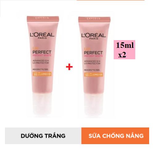 (Combo 2chaix15ml) Kem chống nắng dưỡng da trắng sáng tức thì L'Oreal UV Perfect Instant White SPF50 PA++++