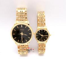 Cặp Đồng hồ đôi nam nữ HALEI dây kim loại thời thượng ( HL552 dây vàng mặt đen ) – TẶNG 1 vòng tỳ hưu phong thuỷ