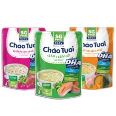 Lốc 3 (33) – Cháo tươi baby SG Food 240g, thịt bằm, bò, cá hồi (720g)