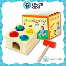 Đồ chơi trẻ em Space Kids Hộp đập bóng gỗ nhiều màu sắc kèm búa, chất liệu gỗ tự nhiên