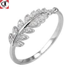 Nhẫn nữ bạc hình chiếc lá gắn đá cobic trắng free size chất liệu bạc thật không xi mạ trang sức Bạc Quang Thản – QTNU1