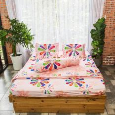Bộ ga gối giường Cotton Poly Tmark (Hoa chong chóng) + Kèm vỏ gối ôm